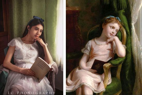 女孩模仿世界名画拍照